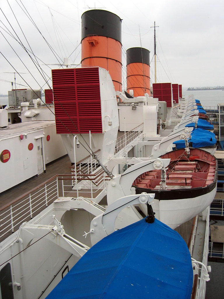 rms queen mary view of lifeboats and smokestacks from one of the top decks. Black Bedroom Furniture Sets. Home Design Ideas